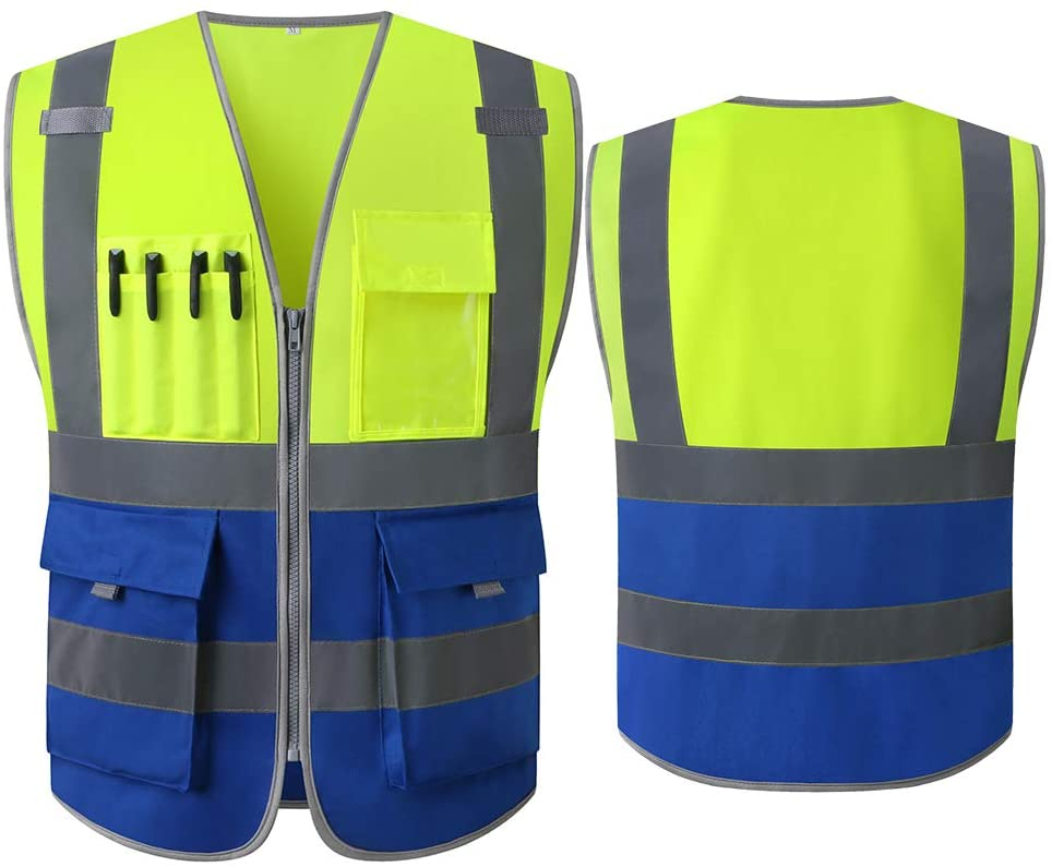 High visibility Two Tone Yellow Blue Safety Vest Reflective With Pockets And Zipper | Construction Reflective Vest Jacket Workwear| (XL, Yellow Blue)