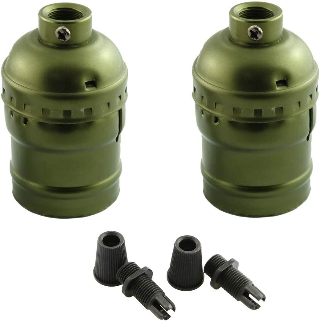 DZS Elec 2pcs E27 Metal Shell Light Sockets Bronze Lamp Base Lighting Accessories Light Bulb Holder Edison Vintage Lights