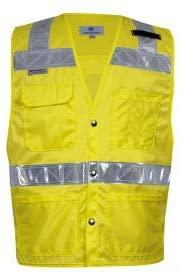 VIZABLE Hi-Vis Deluxe Road Vest, ANSI Class 2, Type R, XL, Yellow (VNT8083XL)