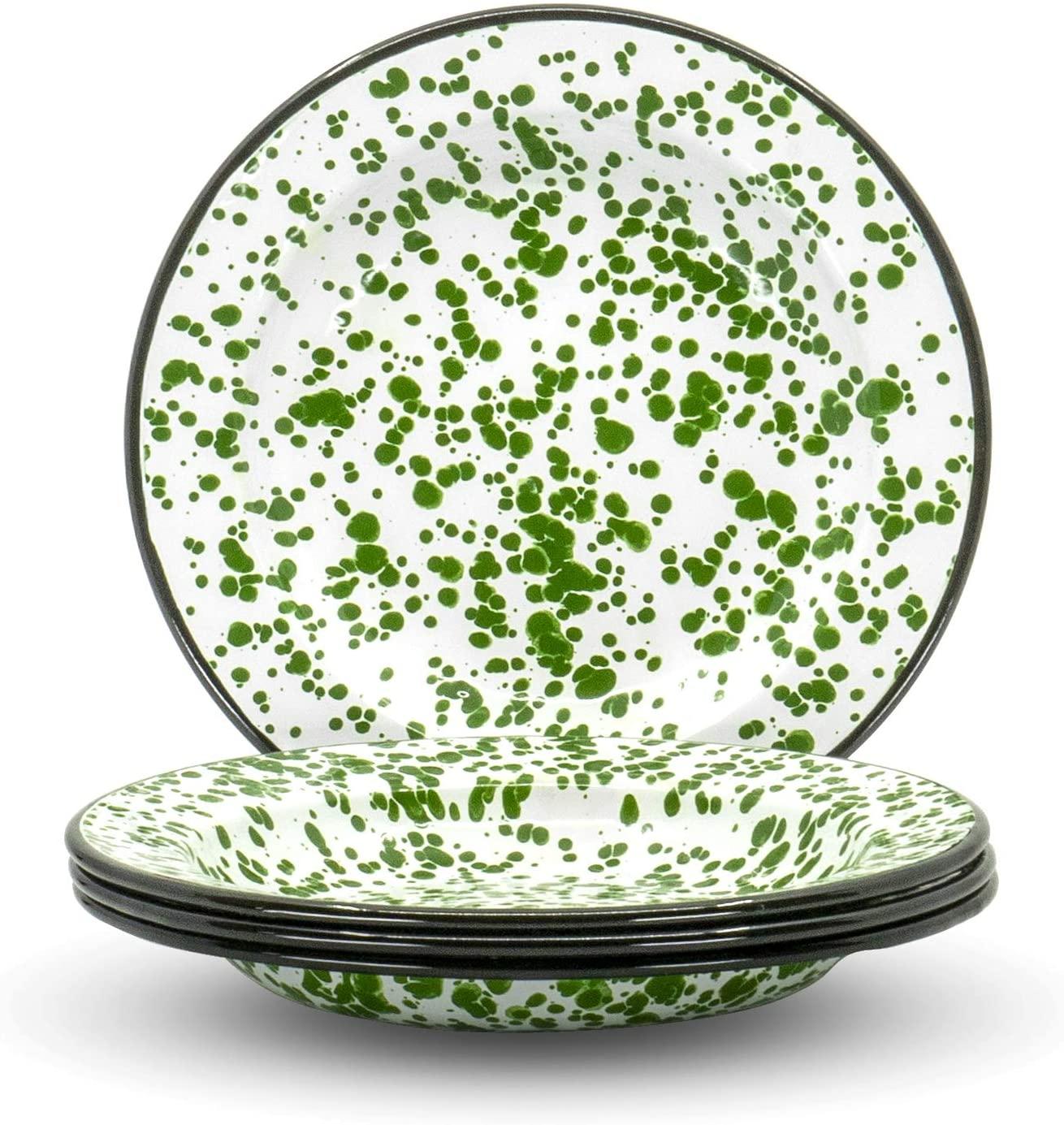Red Co. Enamelware Classic 8 inch Round Flat Salad Plate, Dark Green Marble/Black Rim - Splatter Design - Set of 4