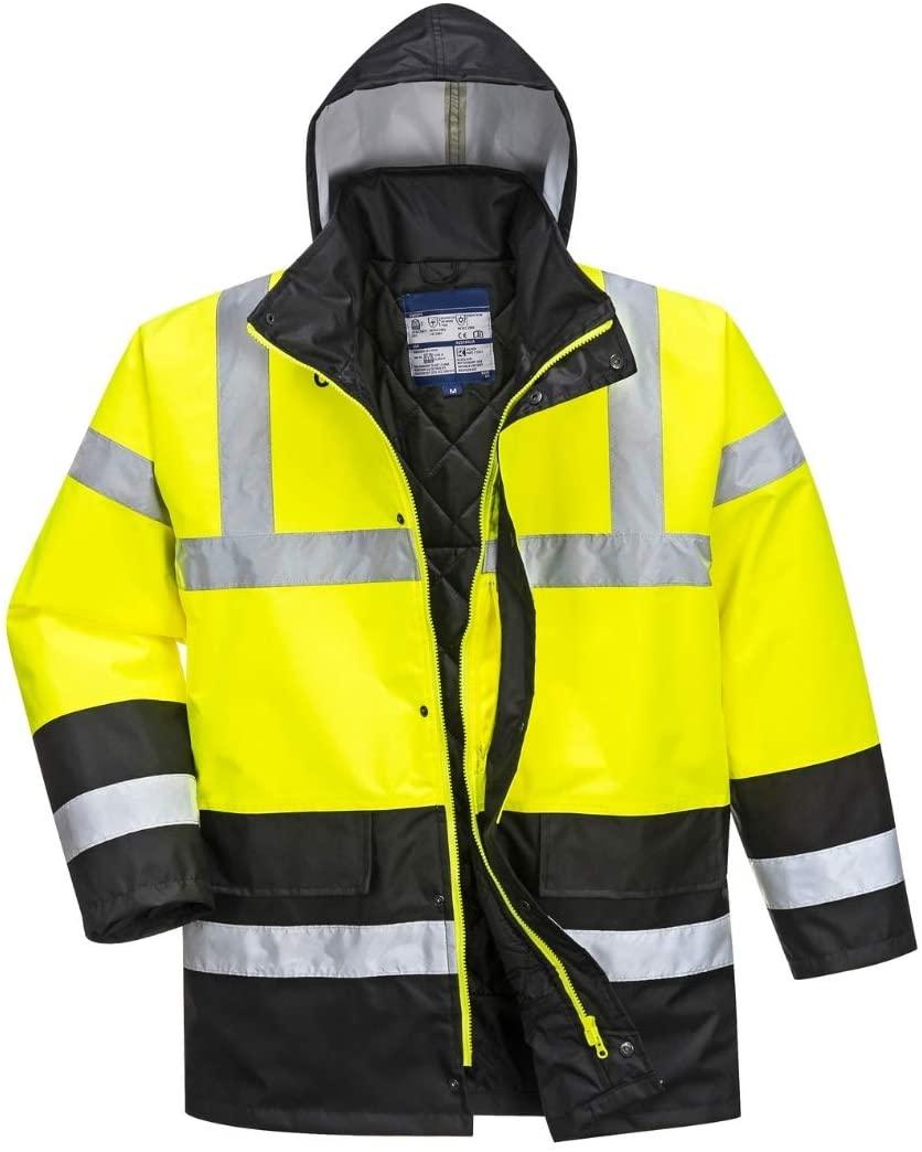 Hi Vis Contrast Traffic Jacket - Lightweight Rain Jacket for Men - Ansi Class 3, High Visibility, Insulated (Large, HiViz Yellow/Black)