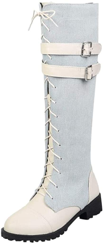 Fasouem Women Mid-Calf Riding Boots,Womens Stitching Denim Leather Belt Wrapped Military Combat Boot Ladies Lace Up Shoes