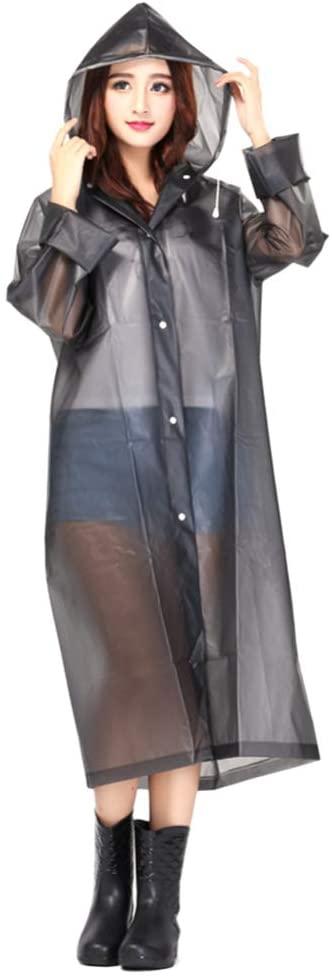 IMIKEYA Waterproof Hooded Rain Coat Rain Poncho Rain Jacket Rain Cloak Travel Rainwear Thicken Rain Gear Anti Saliva Anti-Spit Anti Splash Safety Coveralls for Adults Outdoor (L, Grey)