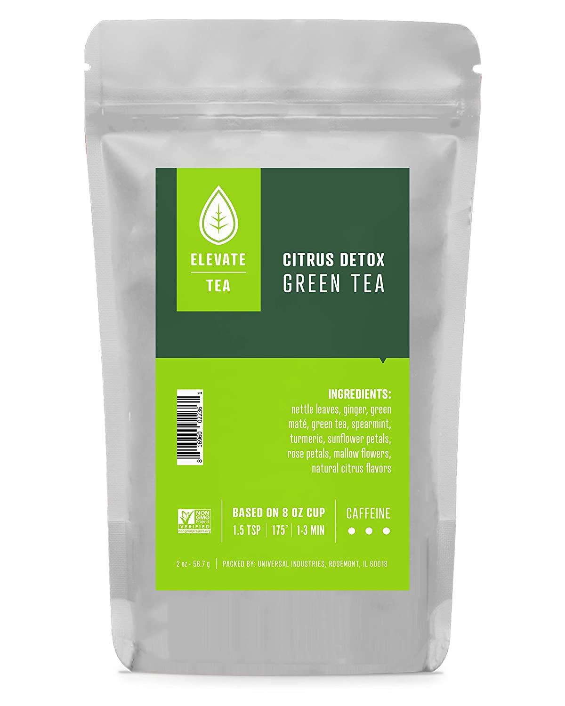 Elevate Tea CITRUS DETOX GREEN TEA, 75 servings, 3-Pack of 2 Ounce Pouches, Caffeine Level: Medium