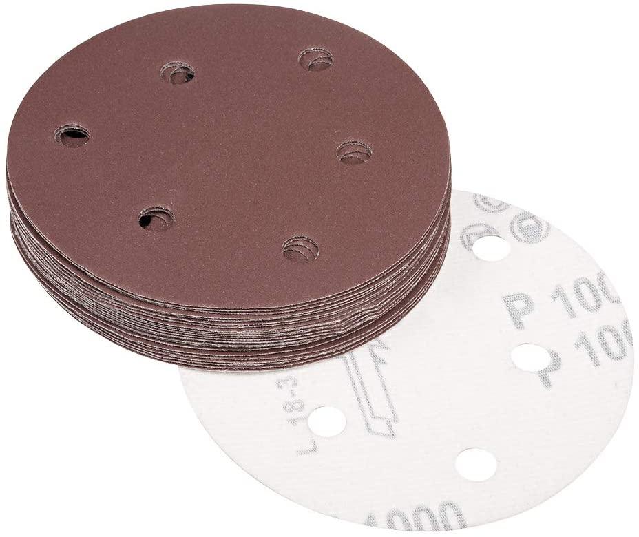 uxcell 5-Inch Sanding Disc 6 Holes 1000 Grits Aluminum Oxide Flocking Back Sandpapers for Sanders 25 Pcs