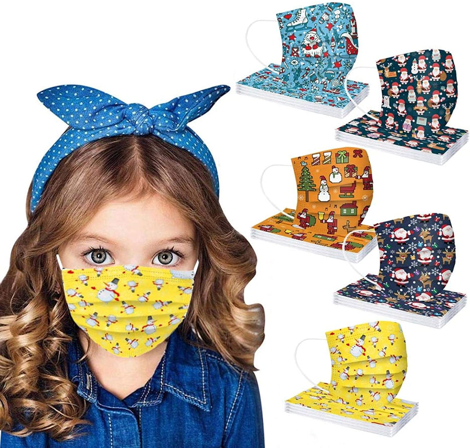 50pcs Kids Cute Christmas Disposable Face_Mask Mixed Color Face Shield for Children