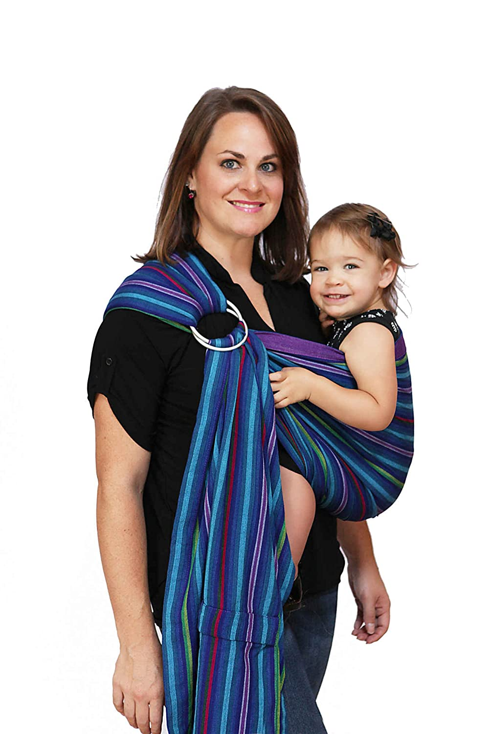 Maya Wrap Lightly Padded Ring Sling | Ergonomic Baby Carrier | Integrated Pocket | Lightweight, Breathable Cotton | Berries (Large)