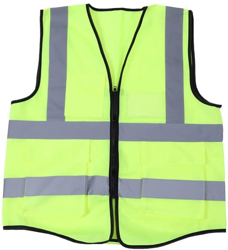 Reemky Multicolor Reflective Vest Safety Security Waistcoat for Jogging, Biking, Motorcycle, Walking (Fluorescent Green)