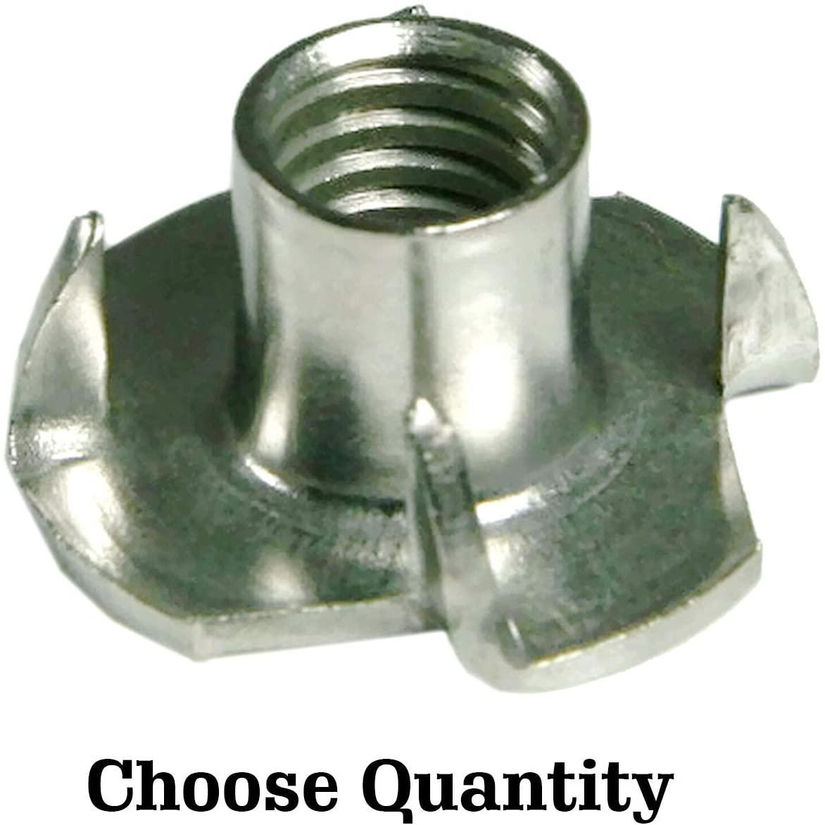 4 Prong Tee Nuts T Nut Insert - Steel Tee Nuts 1/4-20 x 3/8 - Four Prong T Nut Inserts - 4 Pronged Tee Nut T Nuts 1/4-20 T Slot Nut Steel T-Nut Blind Nuts 1/4-20 (12)