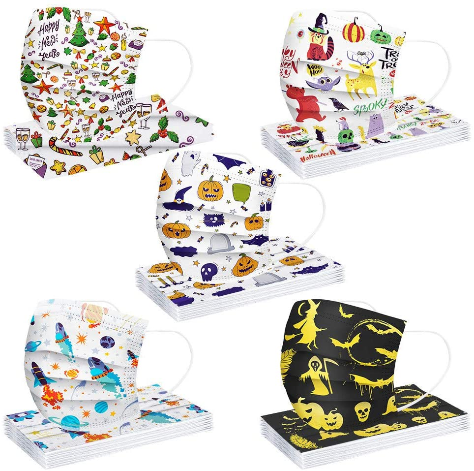 AIHOU 50PCS Kids Disposable Face Mask Comfortable Breathable 3Ply Earloop Non-Woven Protective Cloth Masks Childrens Boys Girls Face Mask Halloween Christmas Party Festival School