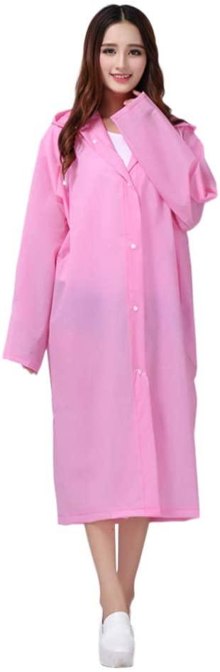 IMIKEYA Waterproof Hooded Rain Coat Rain Poncho Rain Jacket Rain Cloak Travel Rainwear Thicken Rain Gear Anti Saliva Anti-Spit Anti Splash Safety Coveralls for Adults Outdoor (XL, Pink)
