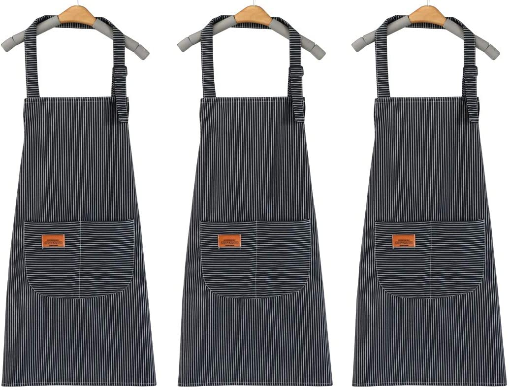 AXIQU Stripe Korean Canvas Apron with Pockets for Women Waitress Cooking Kithchen Chef Waterproof Painting Aprons Smock Overalls Adult for Baking Garden Apron Unisex.Teen (Gray Stripes 3packs)