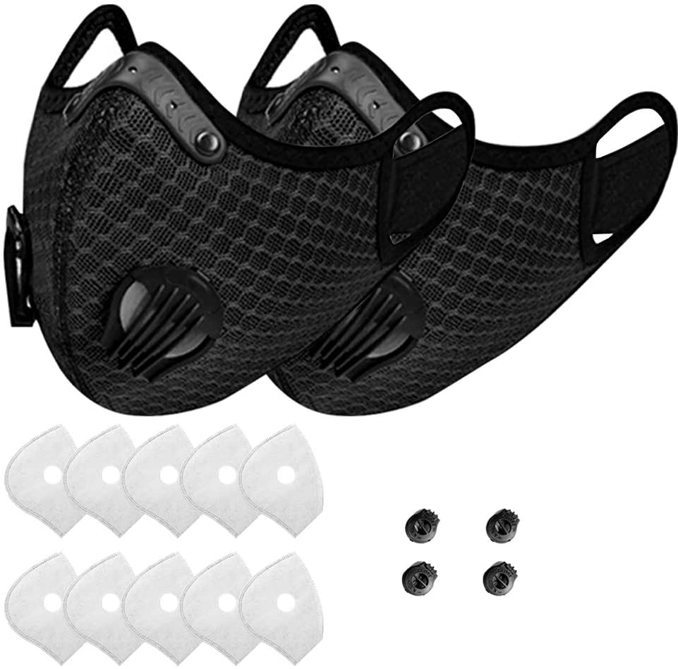 Reusable Dust Face Bandanas With Filters,5 Filters and 2 Valves Included, Replaceable Filters and Washable bandanas for Running, Cycling, Skiing Motorbikes, Outdoor Activities(Black)