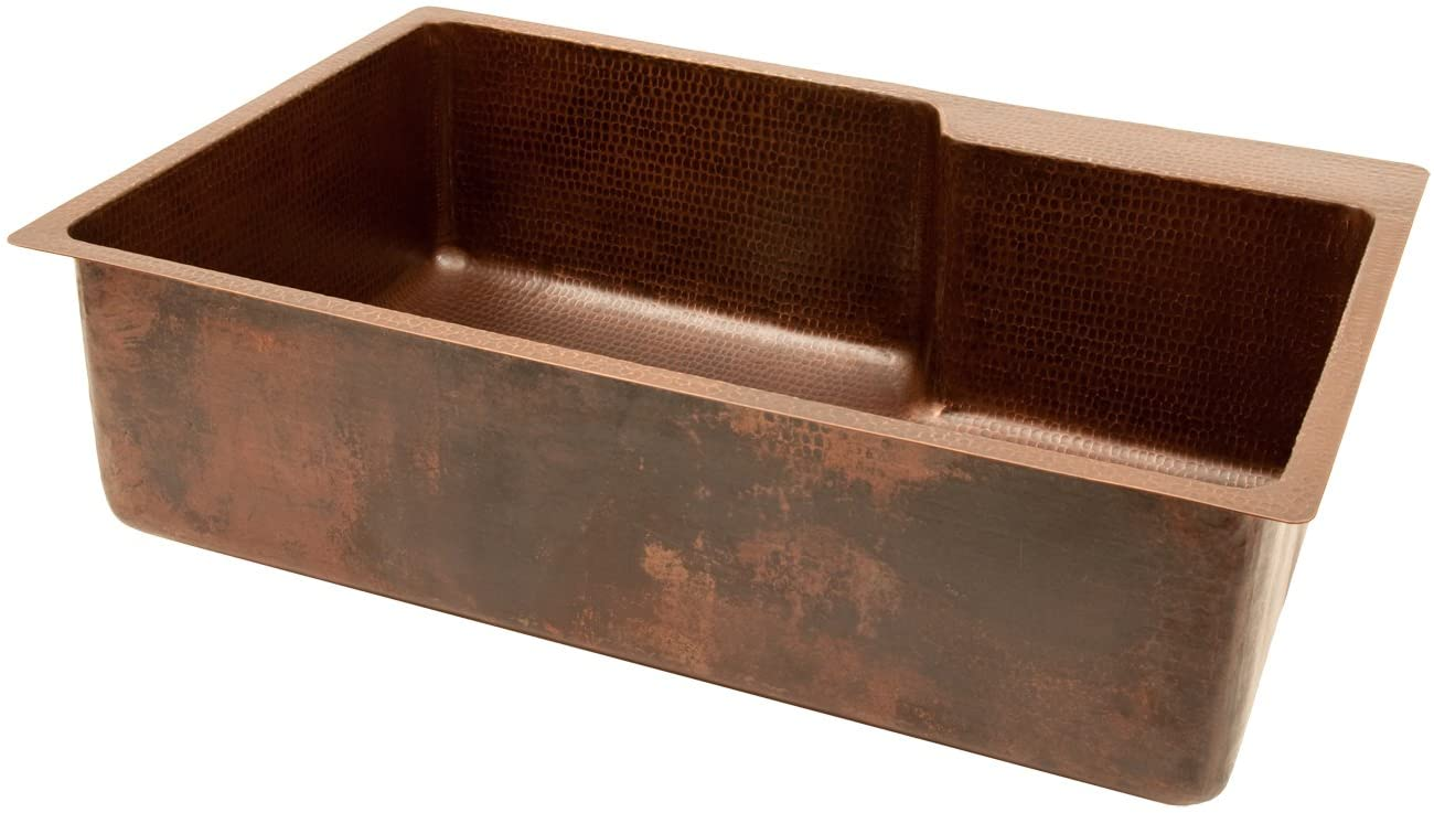 Premier Copper Products KSFDB33229 33-Inch Hammered Copper Kitchen Single Basin Sink with Space for Faucet, Oil Rubbed Bronze