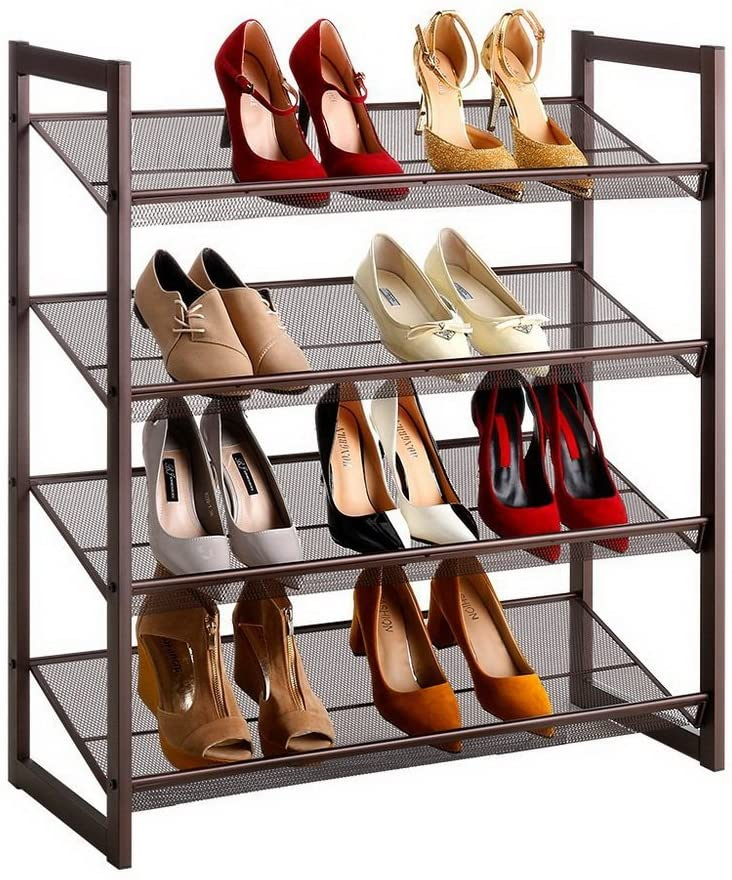 Stackable Sturdy Iron Mesh Utility Shoe Rack Organizer Storage,Flat Slant Adjustable Shoe Holder Shelf for Closet Bedroom Entryway Bronze (4-Tier)