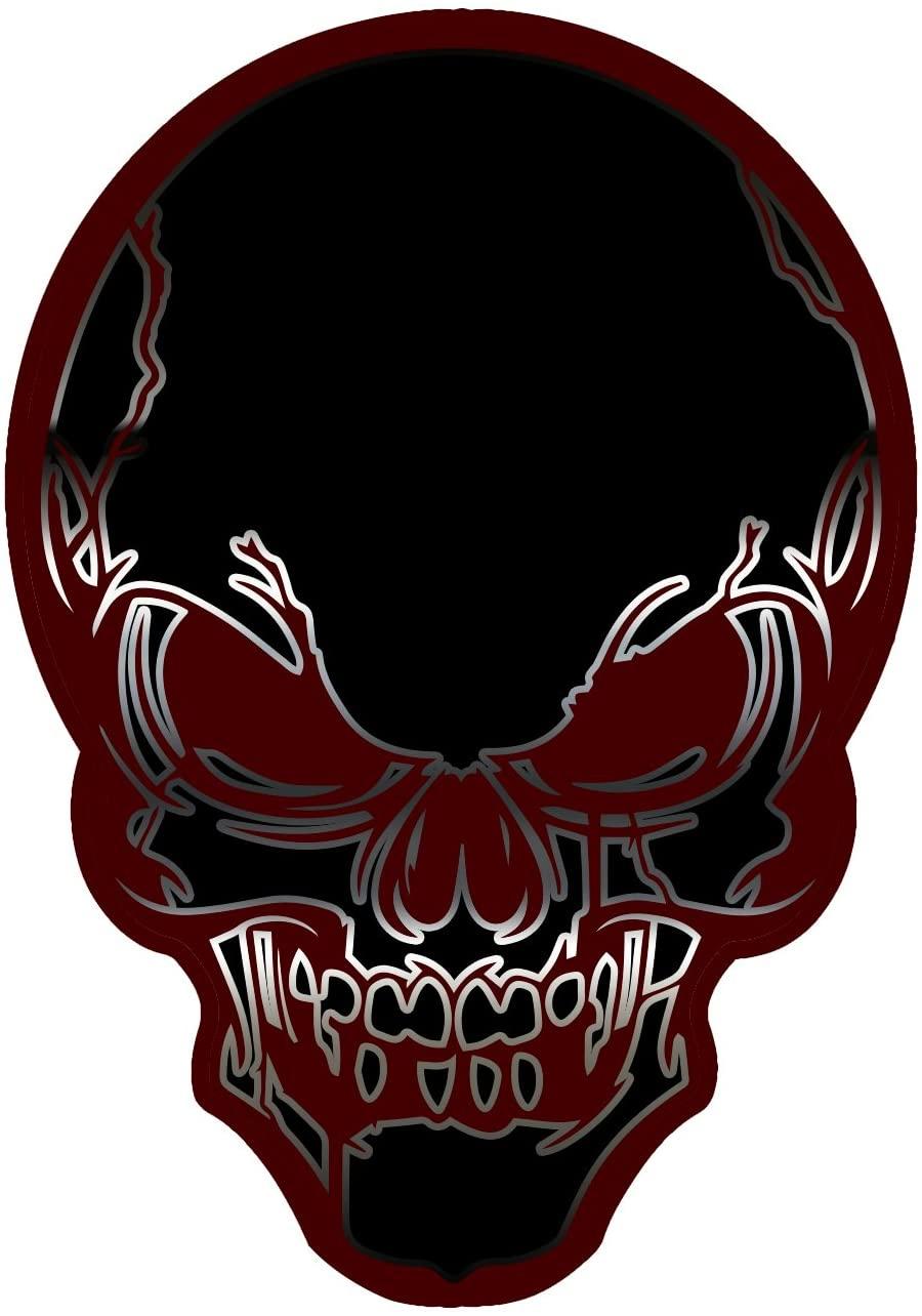 Burgundy Skull Hard Hat Helmet Sticker (Set of 3 Stickers)