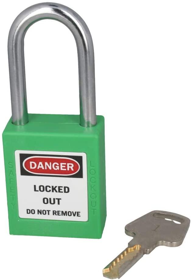 MroMax 3Pcs Lockout Lock 38mm Insulation Nylon Safety Padlock to Protect Property Room Diary Jewelry Box Keyed Alike Green