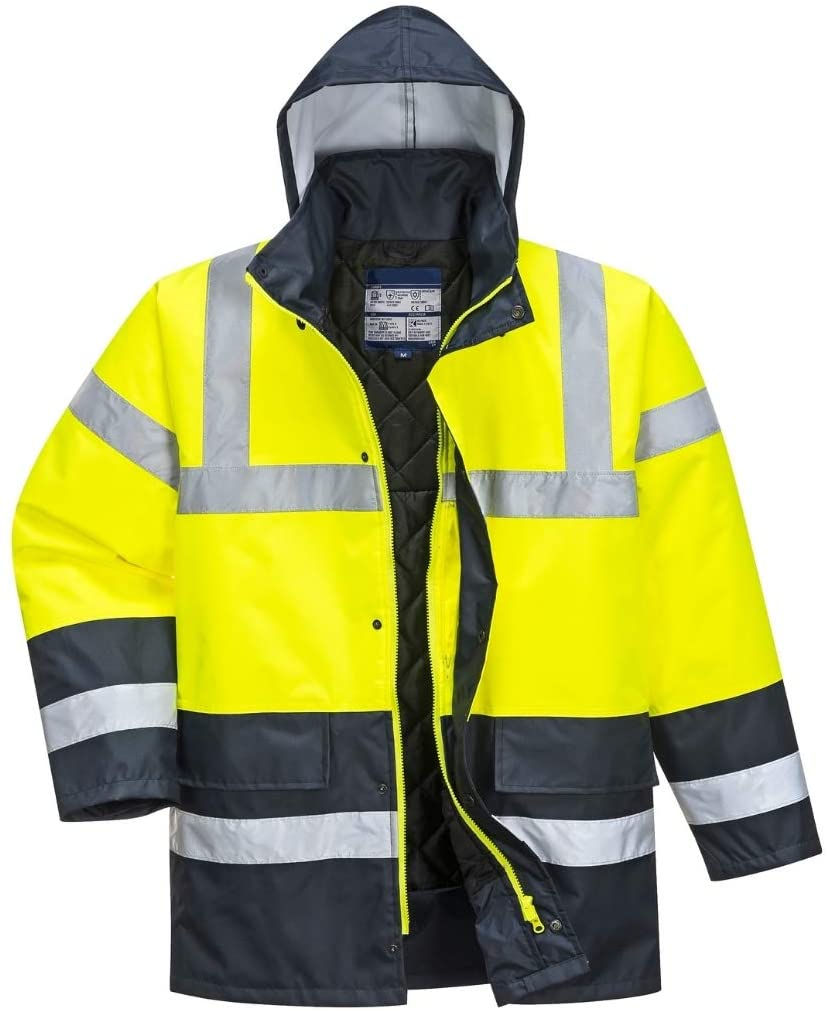 Hi Vis Contrast Traffic Jacket - Lightweight Rain Jacket for Men - Ansi Class 3, High Visibility, Insulated (Large, HiViz Yellow/Navy)