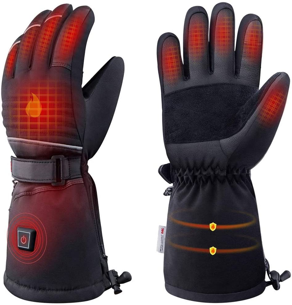 Jermous Heated Gloves, Electric Gloves for Men Women Waterproof Ski Gloves Battery Operate Unisex Rechargeable Heating Gloves for Winter Outdoor Sports Cycling,Hiking,Skiing,Skating