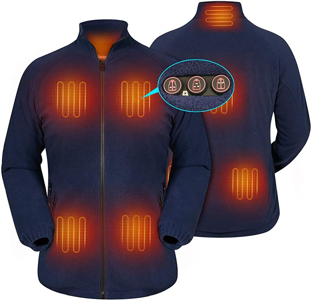 Women`s Heated Fleece Jacket with Battery, Electric Heating Coat Full Zip w/Hand Warmer + Phone Charging Function