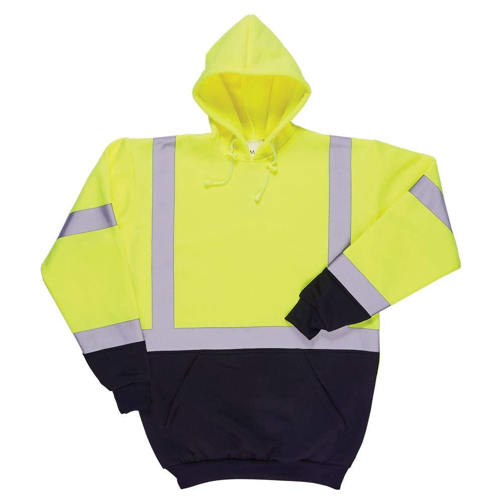 SAFEGEAR Type R Class 3 Pullover Sweatshirt with Hood & Pockets - 4XL - Polyester Fleece, Lime Green/Yellow, High Visibility Shirts for Men or Women - ANSI/ISEA Compliant - J. J. Keller & Associates