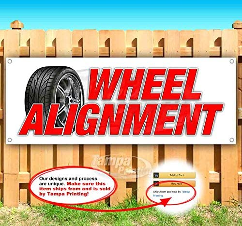Wheel Alignment 13 oz Heavy Duty Vinyl Banner Sign with Metal Grommets, New, Store, Advertising, Flag, (Many Sizes Available)