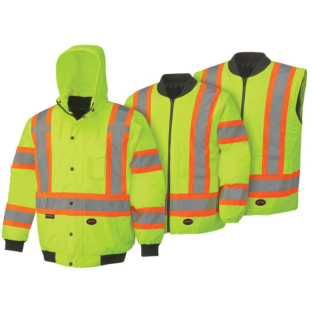 Pioneer High Visibility, 300D Waterproof 6-in-1 Bomber Jacket with Detachable Snap Hood, Reflective Tape, Yellow/Green, L, V1120360U-L