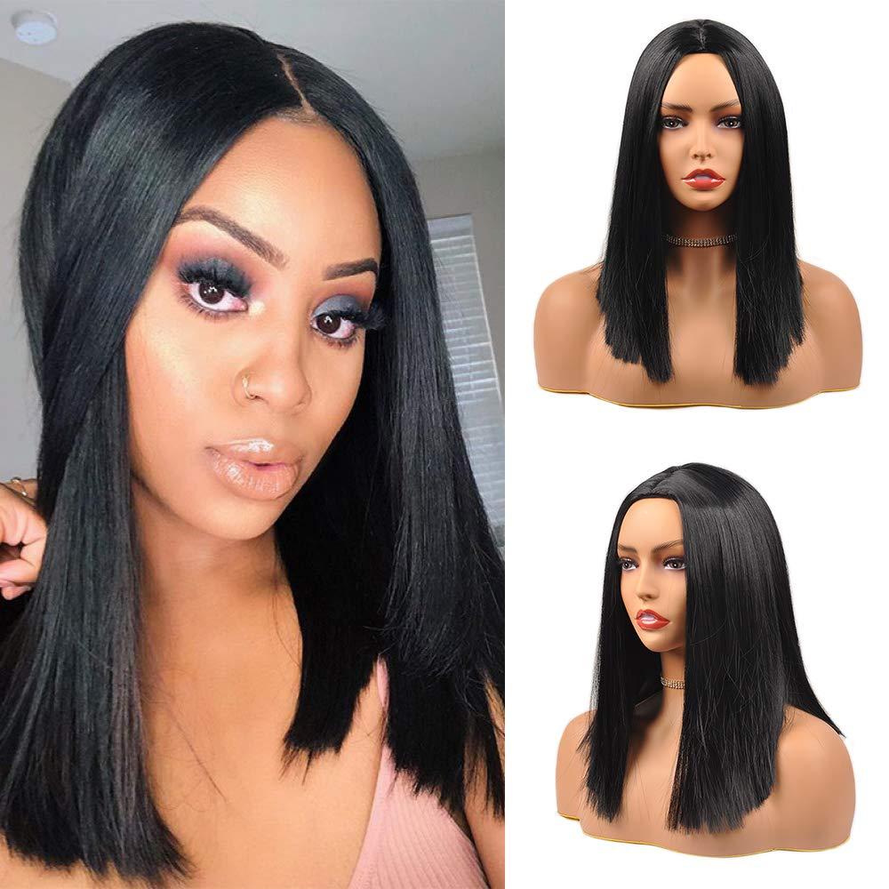 KETHBE Ombre Blue Wig Short Straight Synthetic Wigs Black Roots Middle Part Green Hair Wig for Women with Wig Cap Heat Resistant Bob Wigs for Halloween Costume Cosplay (Black)