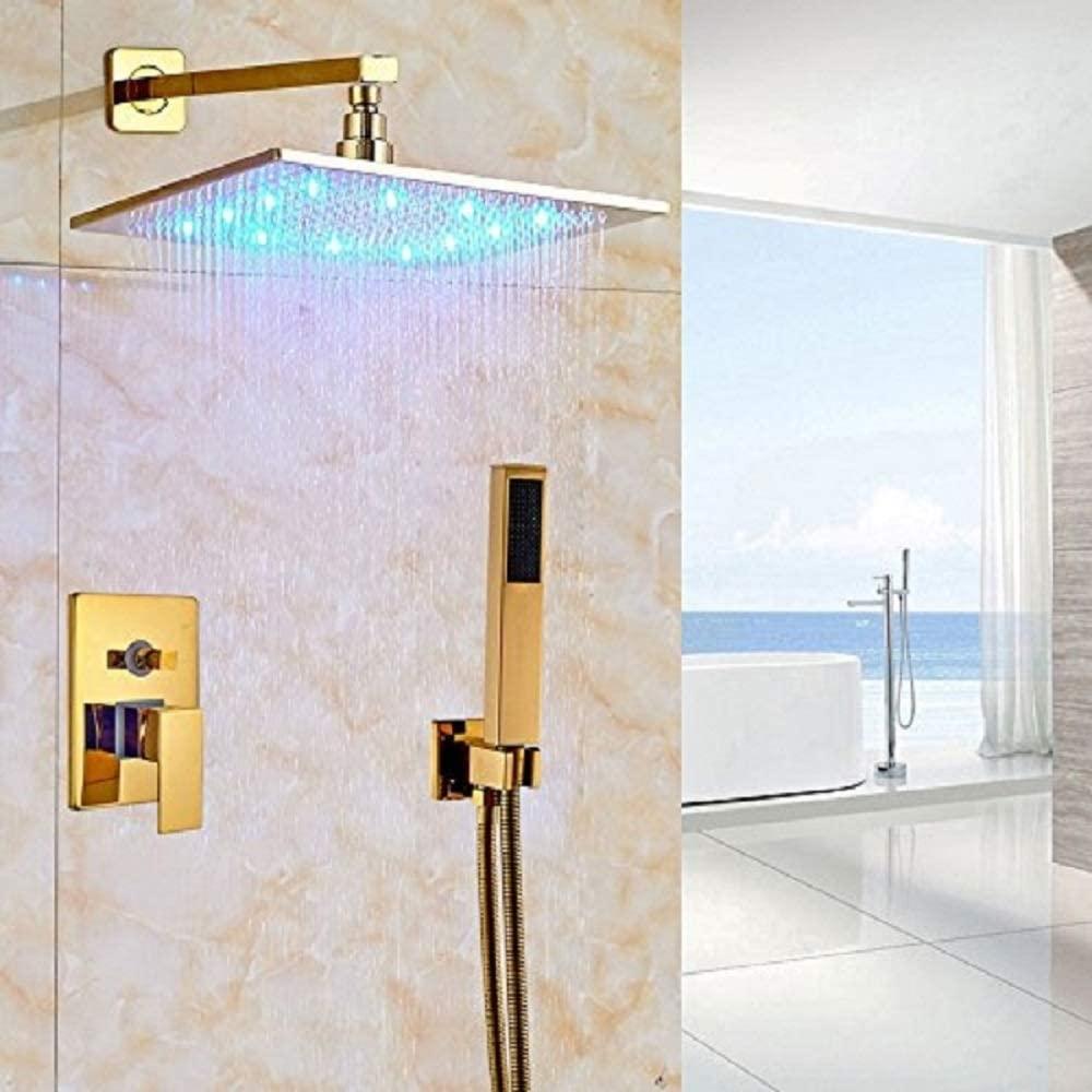 Cascada Luxury Bathroom Shower Set Rainfall LED Shower Head, Double-Function Valve, and Brass Handheld Shower (12