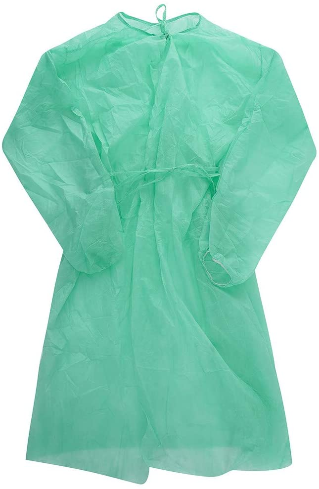 Celendi - 20Pcs Disposable Isolation_Gowns, Protective Clothing, Contact_Precautions_Gowns - Elastic Cuffs with Waist and Neck Tie Closures - for Health-Care Workers & Patients, Free Size - Green