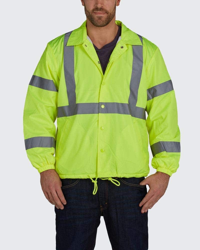 Brite Safety Nylon Windbreaker Jacket - High Visibility ANSI Class 2 Waterproof Jackets