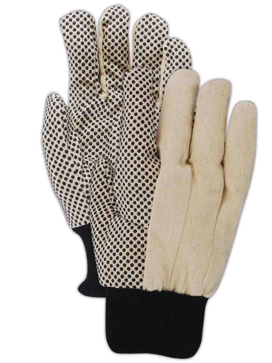 Magid Glove & Safety MultiMaster T30P Cotton Glove, Knit Wrist Cuff, Men's (300 Pair), Off-White/Polka Dot, 9/L