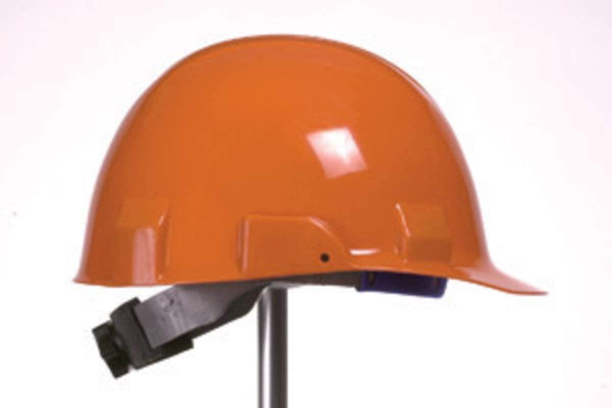 Front Brim Hard Hat, 6 pt. Ratchet Suspension, Orange, Hat Size: 6-1/2 to 8