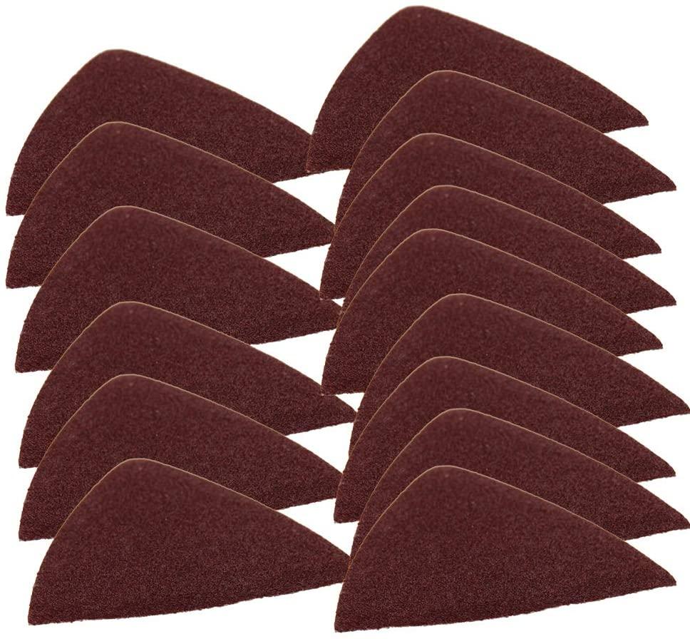 Utoolmart Detail Sander Sandpaper, Triangular Sanding Paper, Hook and Loop Sanding Pads, Triangle Oscillating Multi Tool, 100 Grits 15pcs