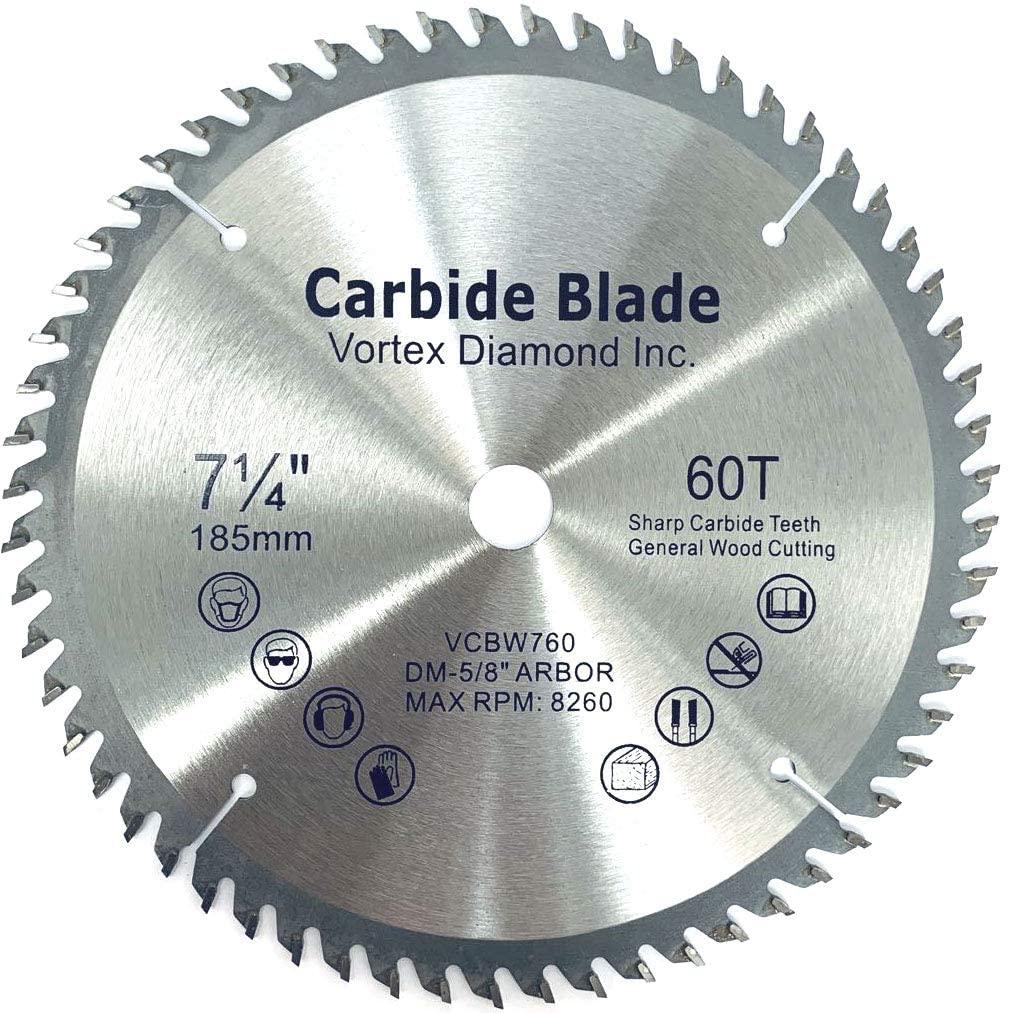 VORTEX DIAMOND VGSB 7-1/4 Inch 60 Teeth TCT General Purpose Hard & Soft Wood Saw Blade (7-1/4 Inch 60 Teeth)