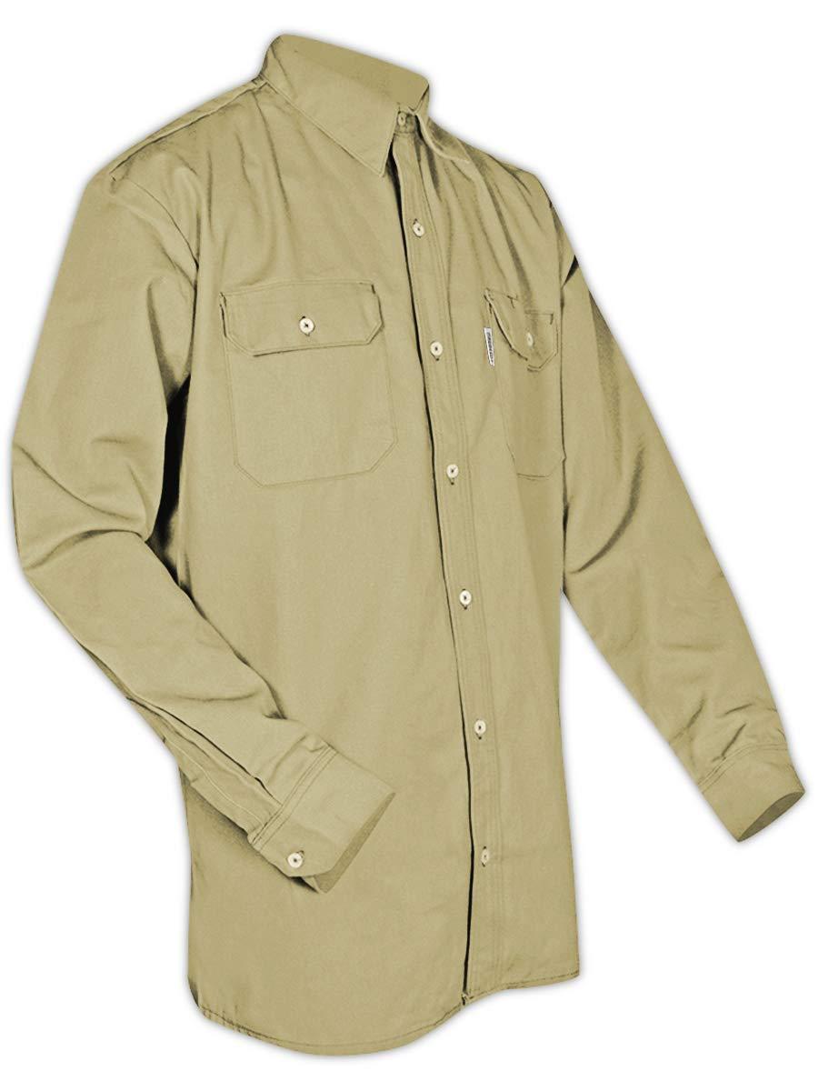 Magid Glove & Safety SBK70DHXXL SBK70DH/SBN70DH Dual-Hazard 7.0 oz. FR 88/12 Work Shirts, Khaki, 2XL, Flame Resistant Cotton Blend