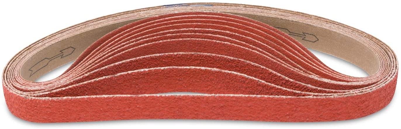 Red Label Abrasives 1 X 18 Inch 80 Grit Sanding Belt - Industrial Grade Ceramic - 10 Pack - For Knife Sharpening and Metalworking