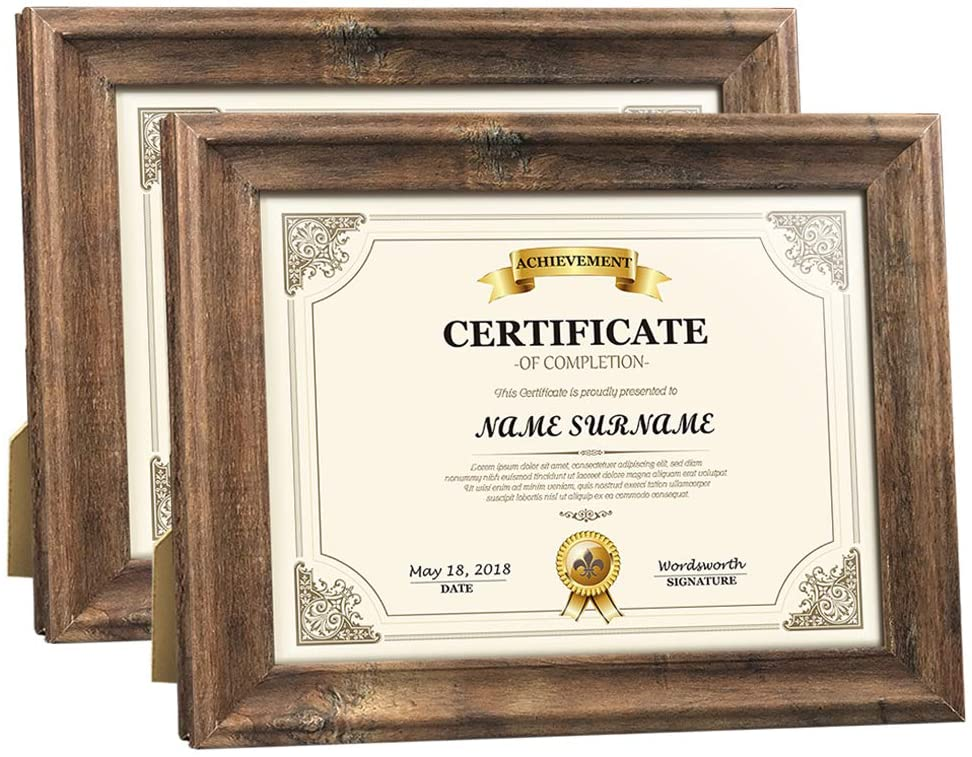 Artsay 8.5x11 Certificate Document Frame Rustic Distressed Picture Frames 8.5 x 11 Set, Wall Hanging and Tabletop, 2 Pack, Brown