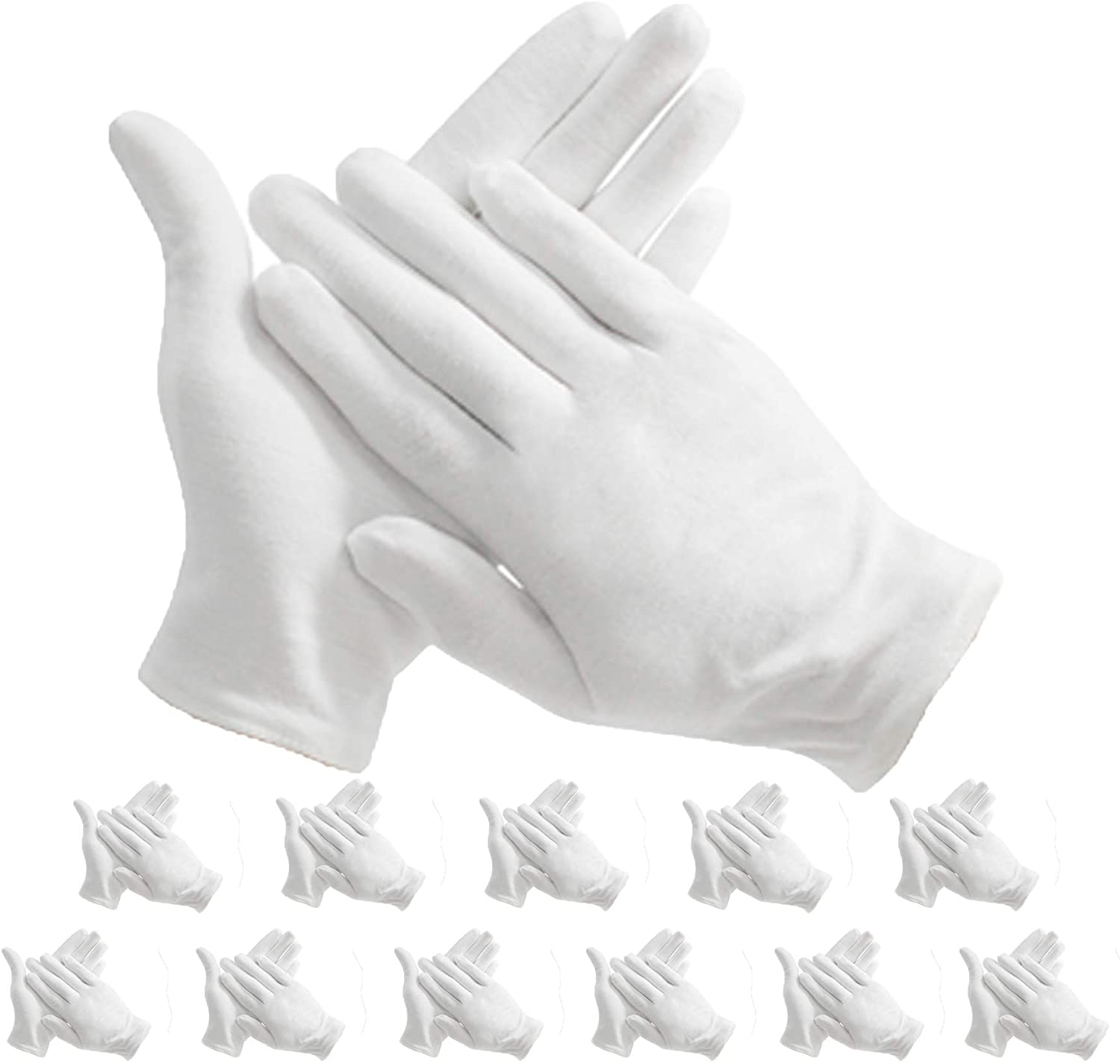 Maydahui 12 pair White Cotton Gloves for Cosmetic Moisturizing Coin Jewelry Inspection performance driving watch repair work/lining – Extra Large Size 9 inch, (Pack of 12)