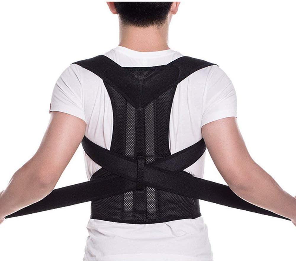 Back Brace Posture Corrector - Back Support Belt with Fully Adjustable Straps Relief Lower & Upper Back Pain, Improve Posture & Provides Lumbar Support - Fit for Men & Women (M)