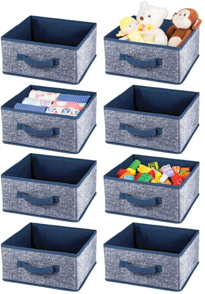mDesign Soft Fabric Closet Storage Organizer Bin Box - Front Handle, for Cube Furniture Shelving Units Bedroom, Nursery, Toy Room - Textured Print - Large, 8 Pack - Navy Blue