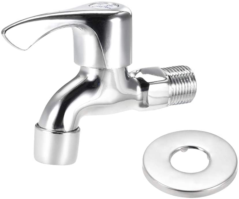 uxcell Water Faucet Tap, G1/2 Male Thread, 2 Ways Handle Nickel Plated Brass with Ornament Cover