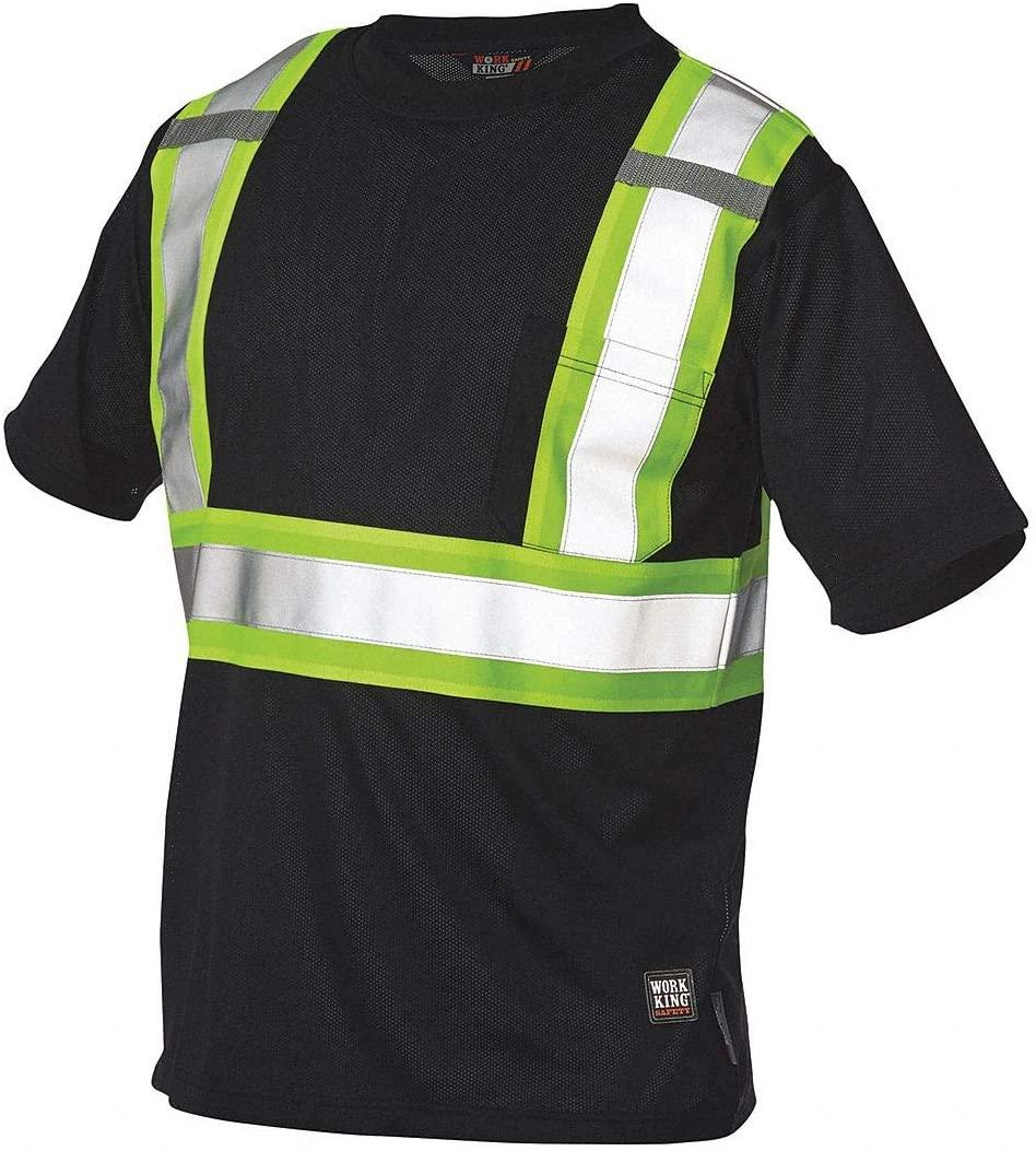 Black 100 Polyester Knit High Visibility T-Shirt, Size: XS, ANSI Class 1