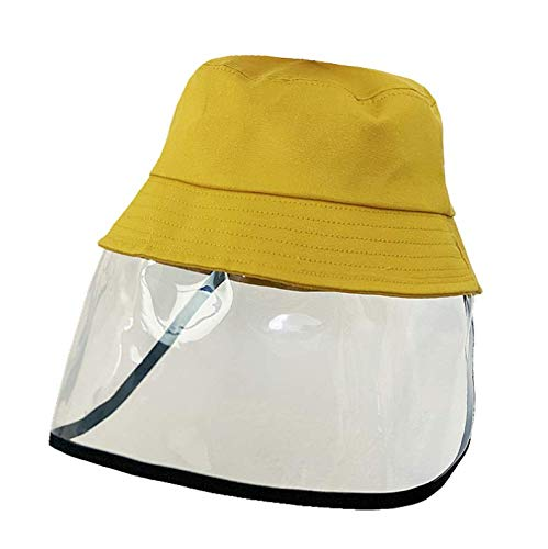 Children Anti-fog Hat, Anti-spit Cotton Fisherman Hat with Mask Outdoor Protection For 3-7 years old (Yellow)