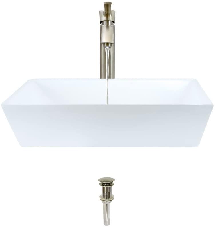 V370-White Porcelain Vessel Sink Brushed Nickel Ensemble with 726 Vessel Faucet (Bundle - 3 Items: Sink, Faucet, and Pop Up Drain)