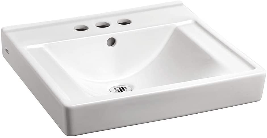 American Standard 9024004EC.020 Decorum Wall-Hung Bathroom Sink with Everclean and 4 Centers, White