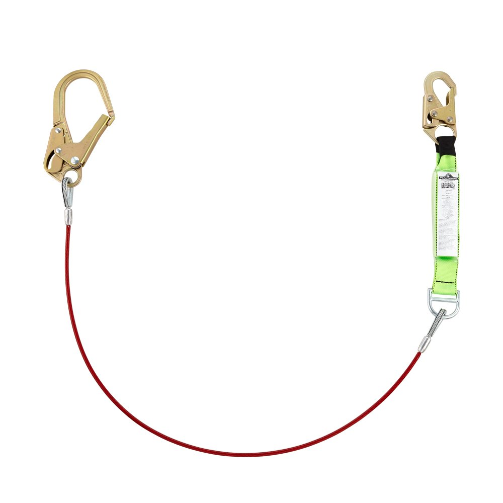 Superior Grade, Heavy-Duty Polyester Webbing, UV and Abrasion Resistant, Single Leg Lanyard (Form Hook), PVC Coated Cable, 6 Ft. L, Green/Red