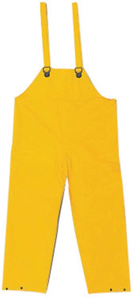 MCR Yellow Classic .35 mm Polyester And PVC Bib Pants With Take Up Snaps On Ankles And Waist, Package Size: 1 Each