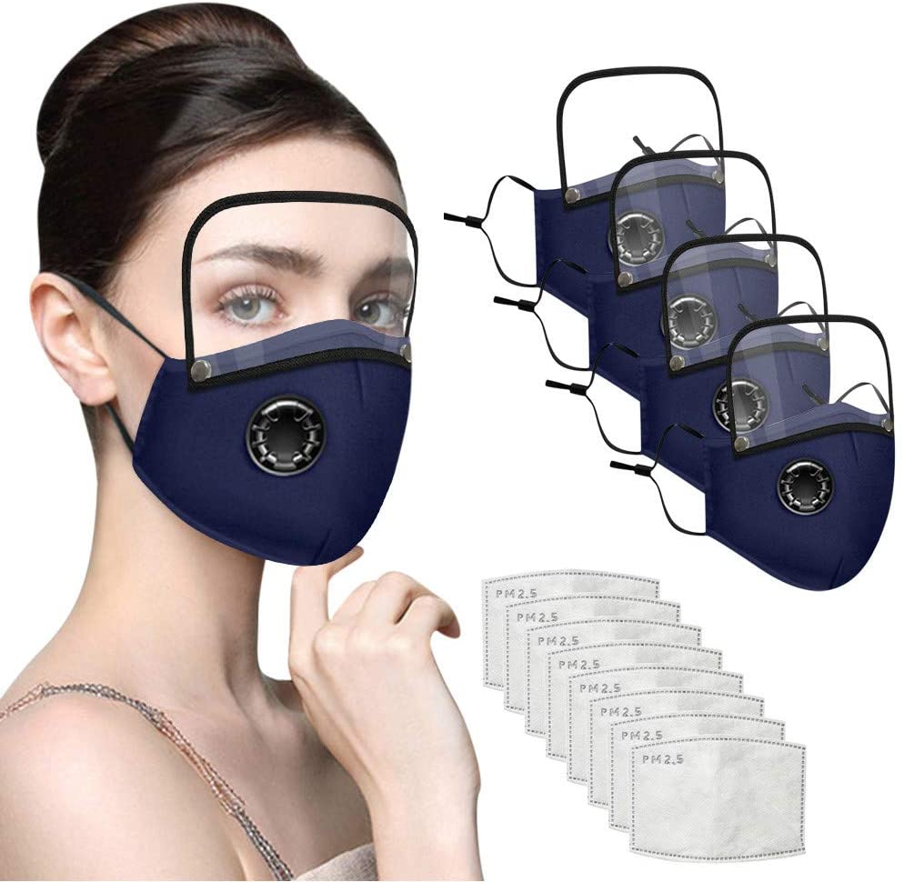 4 Pcs Adult Face Ma$ks Face Bandanas with Eyes Shield And Help Defend the Dust Suitable For Children and Adult Fast Deliver (DeepBlue)