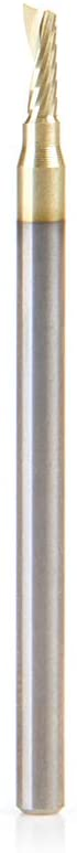 Amana Tool 51472-Z SC Spiral O Single Flute, Aluminum Cutting 3/32 D x 1/4 CH x 1/8 SHK x 2 Inch Long Up-Cut ZrN Coated Router Bit with Mirror Finish